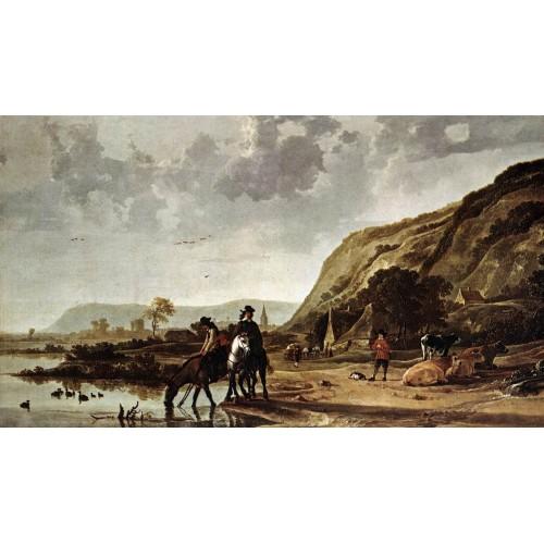 Large River Landscape with Horsemen