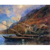 Boats by the Banks of Lake Geneva at Saint Gingolph