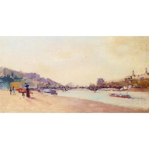 Paris the Seine and the Pont des Saint Peres with the Louv