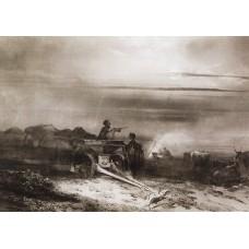 Bivouac in the desert convoy chumakov 1867