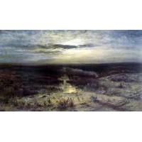 Moonlit night marsh 1870