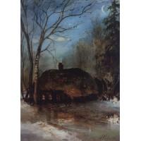 Spring landscape with cottage 1890