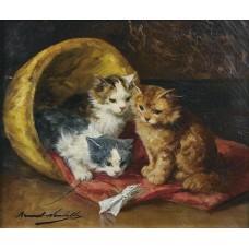 Les chats huile sur toile