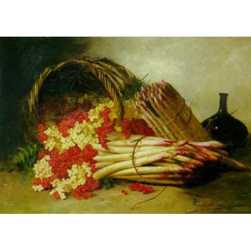 Still life with asparagus,currants