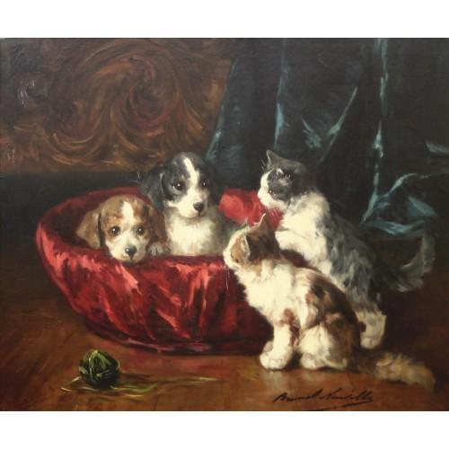 Twee pups en 2 kittens