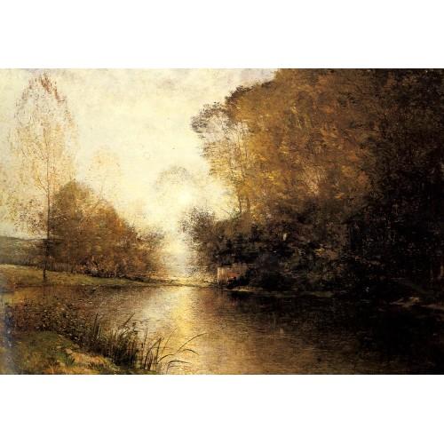 A Moonlit River Landscape with a Figure