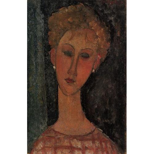 A Blond Wearing Earrings