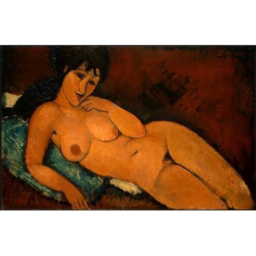 Nude on a Blue Cushion