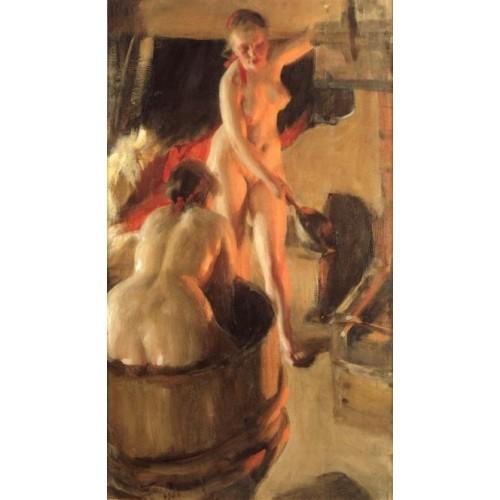 Women bathing in the sauna