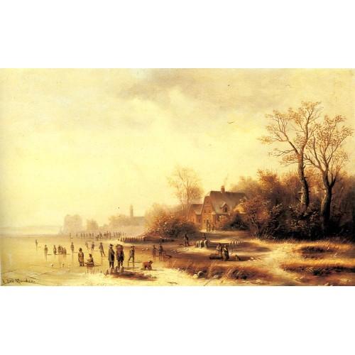 Figures in a Frozen Winter Landscape