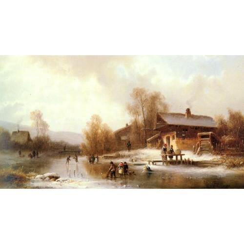 Skaters and Washerwomen in a Frozen Landscape