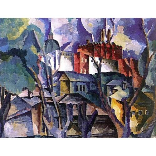 Landscape with dry trees sergiev posad