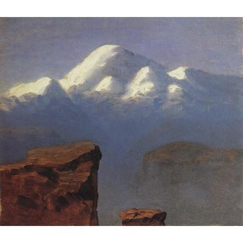 The top of mount elbrus in the sunlight