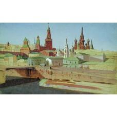 View of the moskvoretsky bridge the kremlin and the pokrovsky cathedral 1882