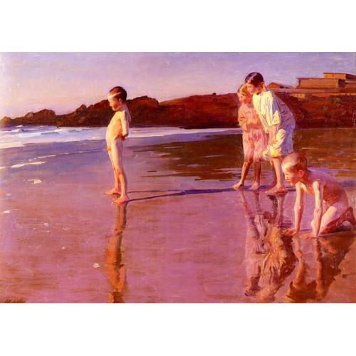 Children On The Beach At Sunset Valencia