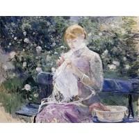 Pasie Sewing in the Garden