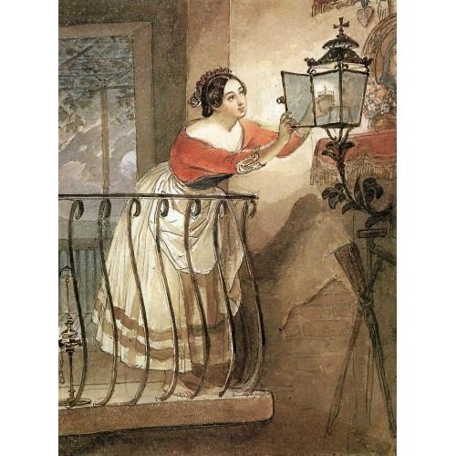 Italian woman lightning a lamp