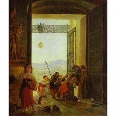 Pilgrims at the entrance of the lateran basilica