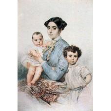 Portrait of teresa michele tittoni with sons 1852