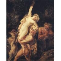 Satyr and bacchante bacchanalia