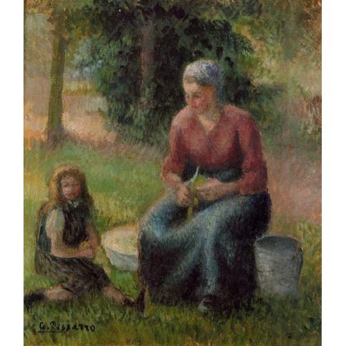 Peasant Woman and Her Daughter Eragny