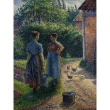 Peasants Chatting in the Farmyard Eragny
