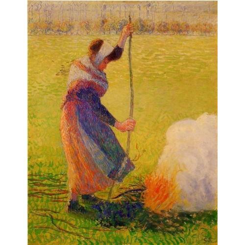 Woman Burning Wood
