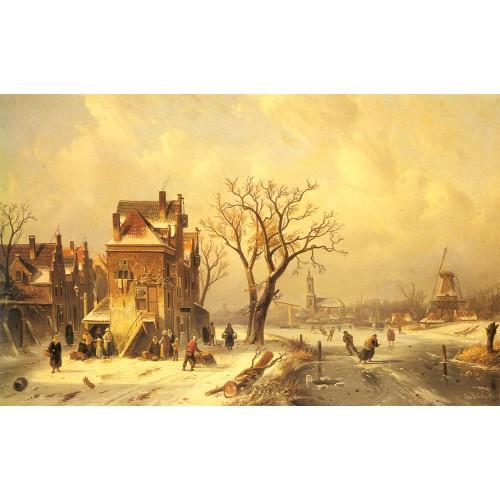 Skaters in a Frozen Winter Landscape