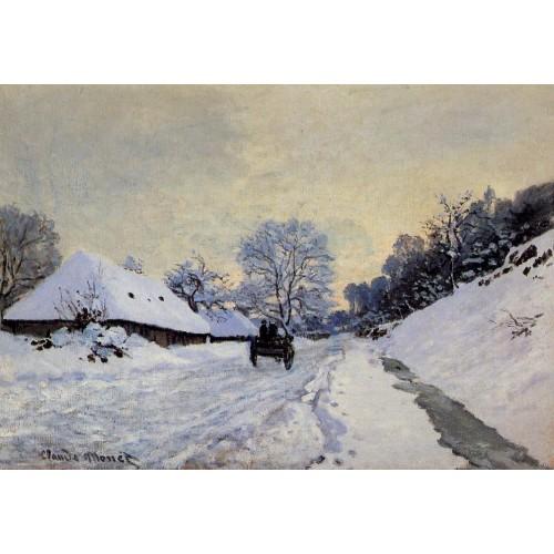 A Cart on the Snow Covered Road with Saint Simeon Farm