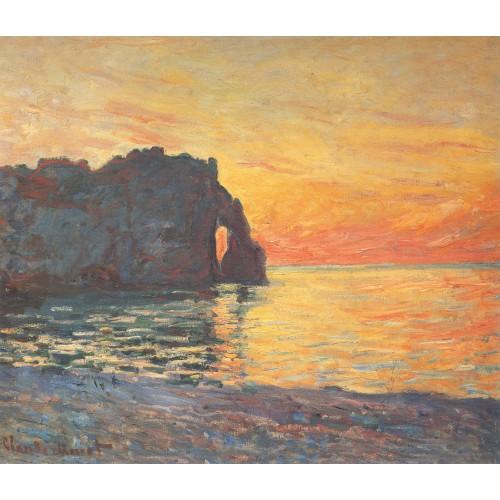 Etretat cliff of d aval sunset