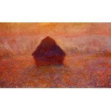 Grainstack Sun in the Mist
