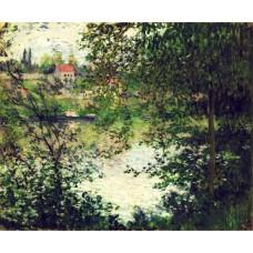 Ile de la grande jatte through the trees