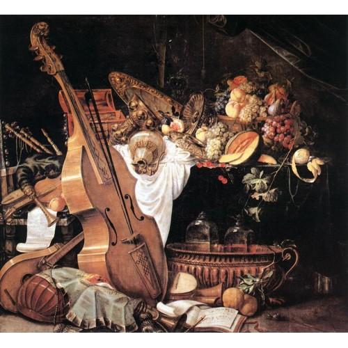 Vanitas Still Life with Musical Instruments