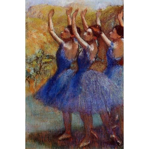 Three Dancers in Purple Skirts