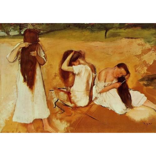 Three Women Combing Their Hair