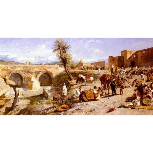 The Arrival Of A Caravan Outside Marakesh