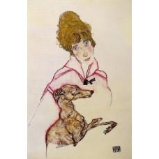 Woman with Greyhound (Edith Schiele)