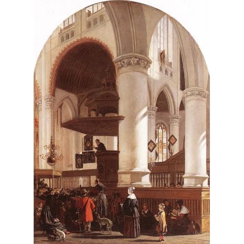 Interior of the Oude Kerk at Delft during a Sermon