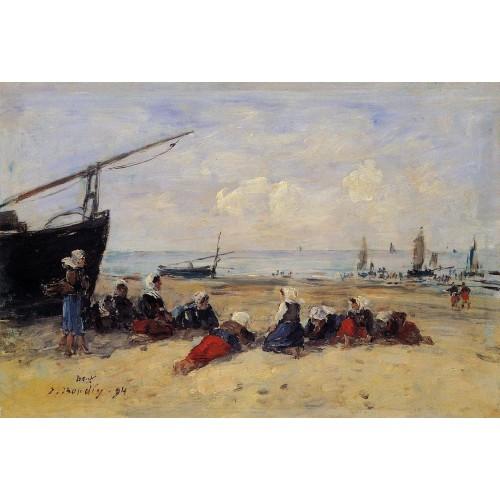 Berck Fisherwomen on the Beach Low Tide