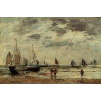 Berck Jetty and Sailing Boats at Low Tide