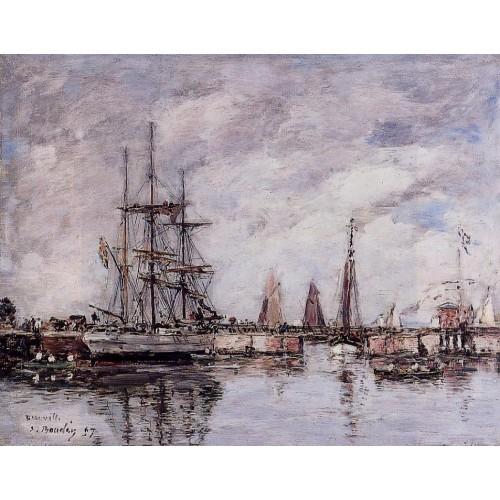 Deauville Norwegian Three Master Leaving Port
