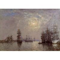 Le Havre European Basin Sailing Ships at Anchor Sunset