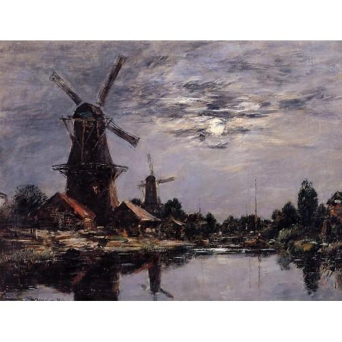 Windmills and Canel near Dordrecht
