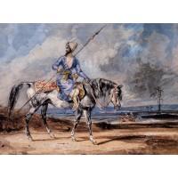 A Turkish Man on a Grey Horse