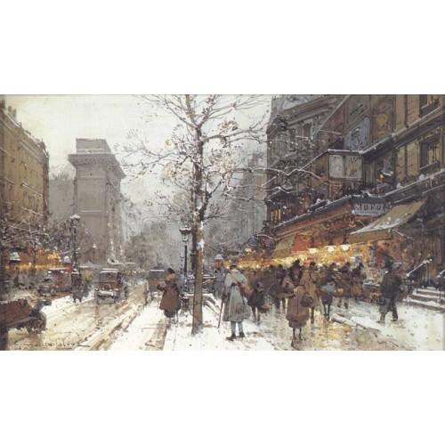 A Busy Boulavard Under Snow at Porte St Martin Paris
