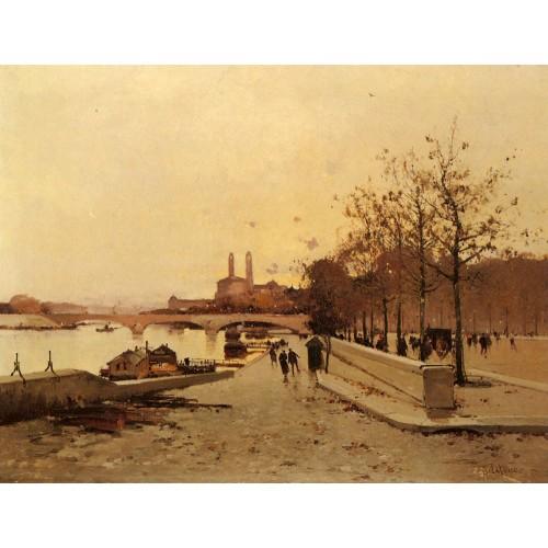 Pont sue la Seine avec une vue sur l'ancien Trocadero