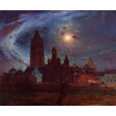The Bourg de Batz Church under the Moon