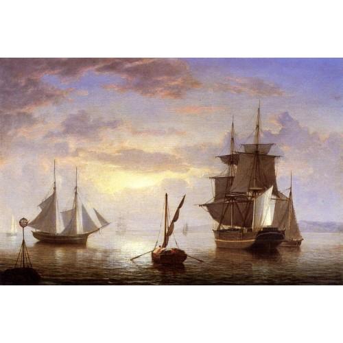Ships in a Harbor Sunrise
