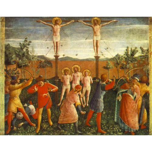 Saint Cosmas and Saint Damian Crucifixed and Stoned