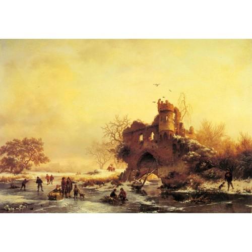 Winter Landscape with Skaters on a Frozen River beside Castl
